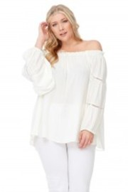 Plus Size Crochet Trim Off Shoulder Peasant Top