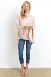 V Neck Bell Sleeved Solid Blouse