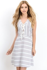 Sleeveless Striped Flared Tie Up Dress