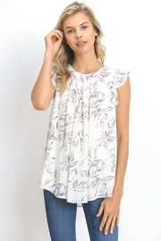 Floral Ruffle Sheer Tunic Top
