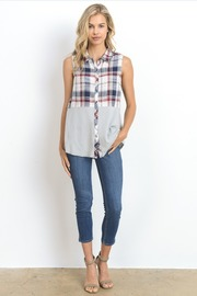 Plaid & Solid Button Sleeveless Top
