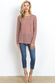 Striped Tie Up Long Sleeved Knit Top