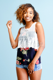 Embroidered Flounce Floral Summer Top