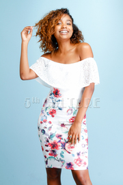 Sweet Lacey Off Shoulder & Floral Fit Dress