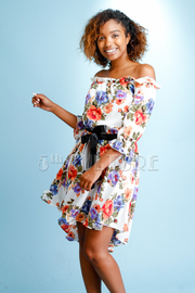 Pretty In Flowers Off Shoulder Hi Lo Tie Flared Dress