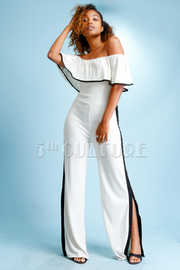 Off Shoulder Contrast Lined Slit Jumpsuit