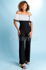 Off Shoulder Striped Flounce & Solid Jumpsuit