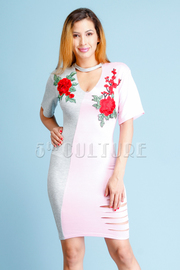 Two Toned Roses Midi Dress