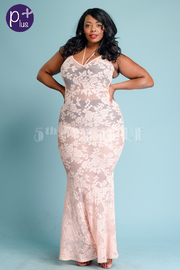 Plus Size Pretty In Laced Maxi Cocktail Dress