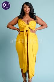 Plus Size One Shoulder Bow Tie Midi Skirt Set