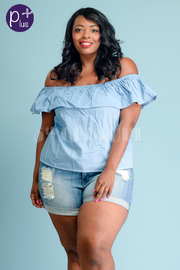 Plus Size Off Shoulder Flounce Chambray Top