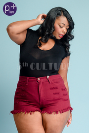 Plus Size Raw Edge Mini Denim 5-Pocket Summer Shorts