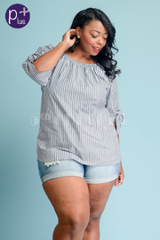 Plus Size Scoop Neck Striped 3/4 Sleeved Top