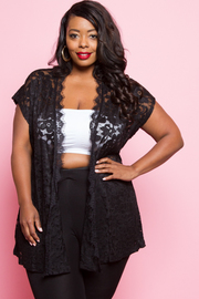 Plus Size Lacey Open Night Out Cardigan