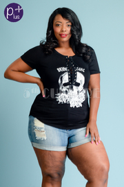 Plus Size Skull Tie Up Eyelet Top