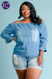 Plus Size Off Shoulder Button Down Trim Chambray Top