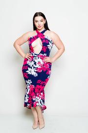 Plus Size Sexy Floral Mermaid Cross Straps Dress