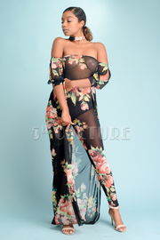 Trendy Floral All Mesh Jumpsuit With Long Tail