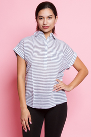 Collared Striped Short Sleeved Top