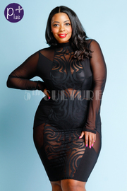 Plus Size Girls Night Out Design Mesh Bodycon Dress