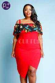 Plus Size Asymmetrical Floral Flounce Midi Dress