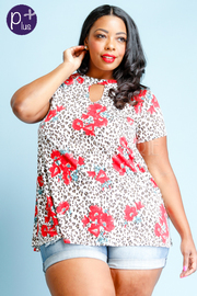 Plus Size Floral Wild Printed Short Sleeved Top