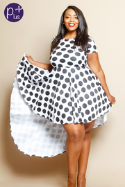 Plus Size Polka Dot Hi Lo Skater Flared Dress