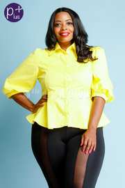 Plus Size Button Down Bright Collar Shirt