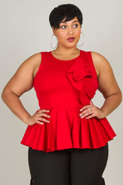 Plus Size Side Bow Peplum Flirty Top