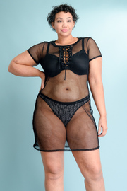 Plus Size See Through Sexy All Mesh Eyelet Tie Top