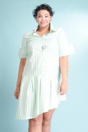 Plus Size Button Down Striped Asymmetrical Collared Shirt Dress