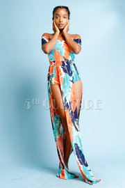 Off Shoulder Feather Printed Maxi Sexy Dress