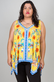 Plus Size V-neck Dashiki Floral Asymmetric Tank