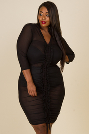 Plus Size Sexy In Ruched Mesh Tie Mini Dress