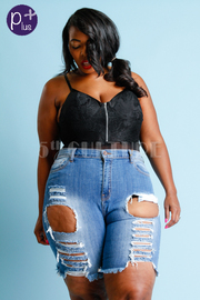 Plus Size Ripped Hole Capri Shorts