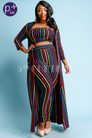 Plus Size 3-Piece Colorful Striped Bandeau Maxi Pants Cardigan Set