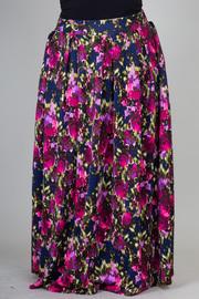 Plus Size Floral Printed Scuba Maxi Skirt