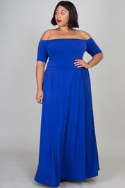 Plus Size Off Shoulder Romper Maxi Dress Combo