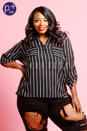 Plus Size Double Pocket Striped Sheer Blouse