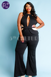 Plus Size Keyhole Casual Peplum Fit Jumpsuit