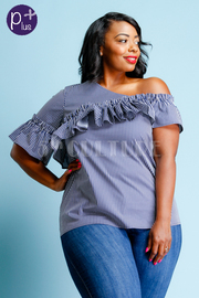 Plus Size One Shoulder Ruffled Striped Top