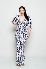 Plus Size Surplice Aztec Maxi Tie Waist Maxi Dress