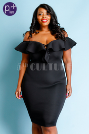 Plus Size Off Shoulder Sweet Flounce Midi Ponti Dress