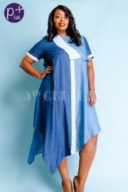 Plus Size Colorblock Denim Asymmetric Flowy Dress