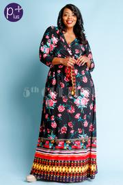 Plus Size Bohemian Floral Maxi Surplice Tie Dress