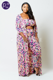 Plus Size 3-Piece Mixed Printed Bandeu Long Cardigan Pants Set