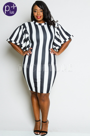 Plus Size Striped Flirty Sleeved Midi Dress