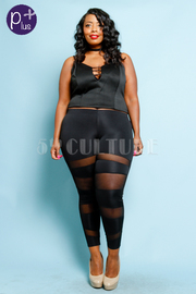 Plus Size Mesh Striped Solid Leggings