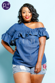 Plus Size One Shoulder Flounce Denim Top