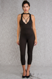 Sexy In Cross Straps Solid Jumpsuit